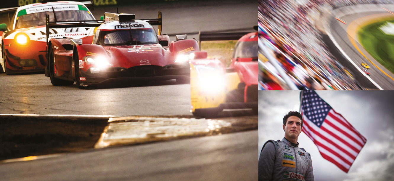 Mazda 77 of Tristan Nunez, Olly Jarvis and René Rast navigates through traffic. Nunez, admits it would be a dream to race at Le Mans with Mazda