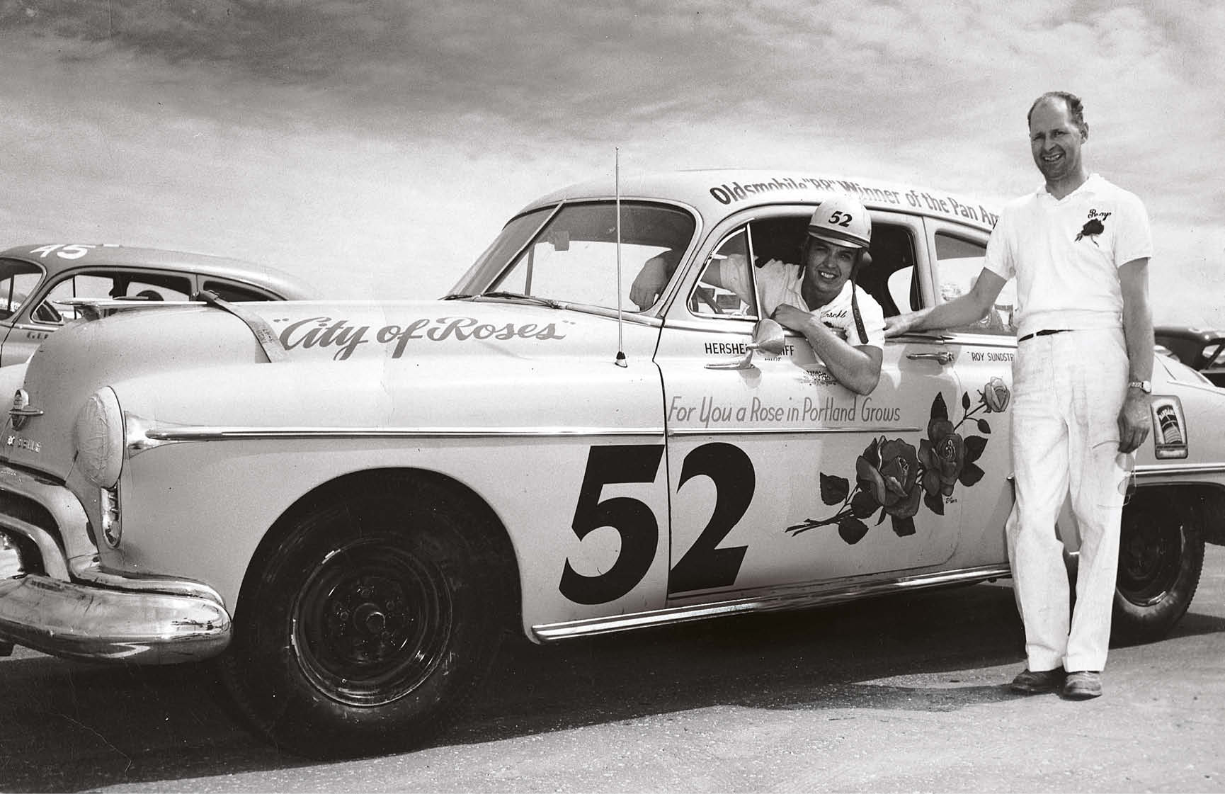 McGriff began his stock car career in the 1950s. Here he is pictured at the wheel of the Oldsmobile that he won the 1950 Mexican Road Race in with his co-driver Ray Elliott.