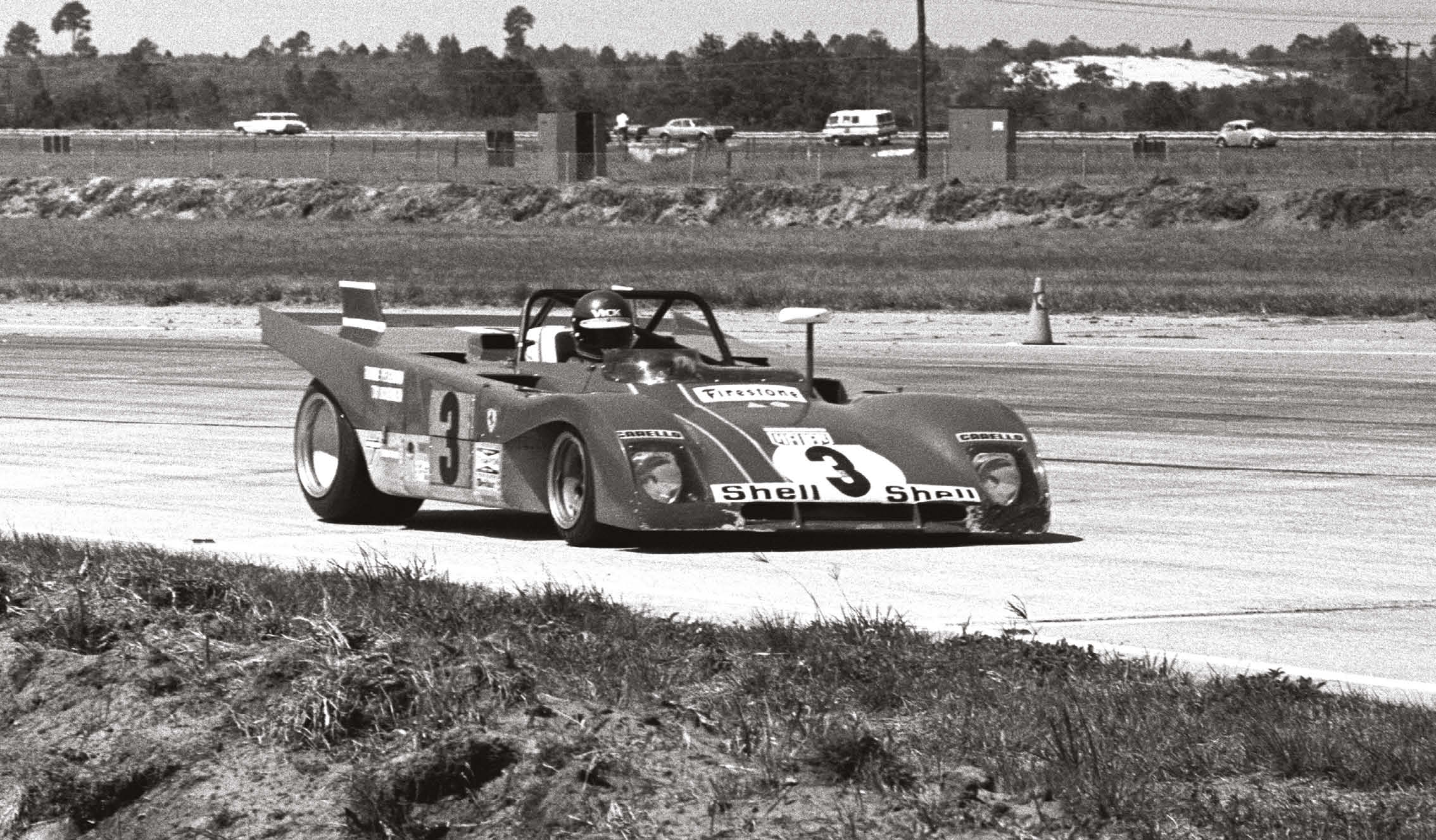 Everyday America drifts past in the background as Ronnie Peterson races in the 1972 Sebring 12 Hours. He and Tim Schenken took their Ferrari 312PB to second, behind team-mates Mario Andretti and Jacky Ickx