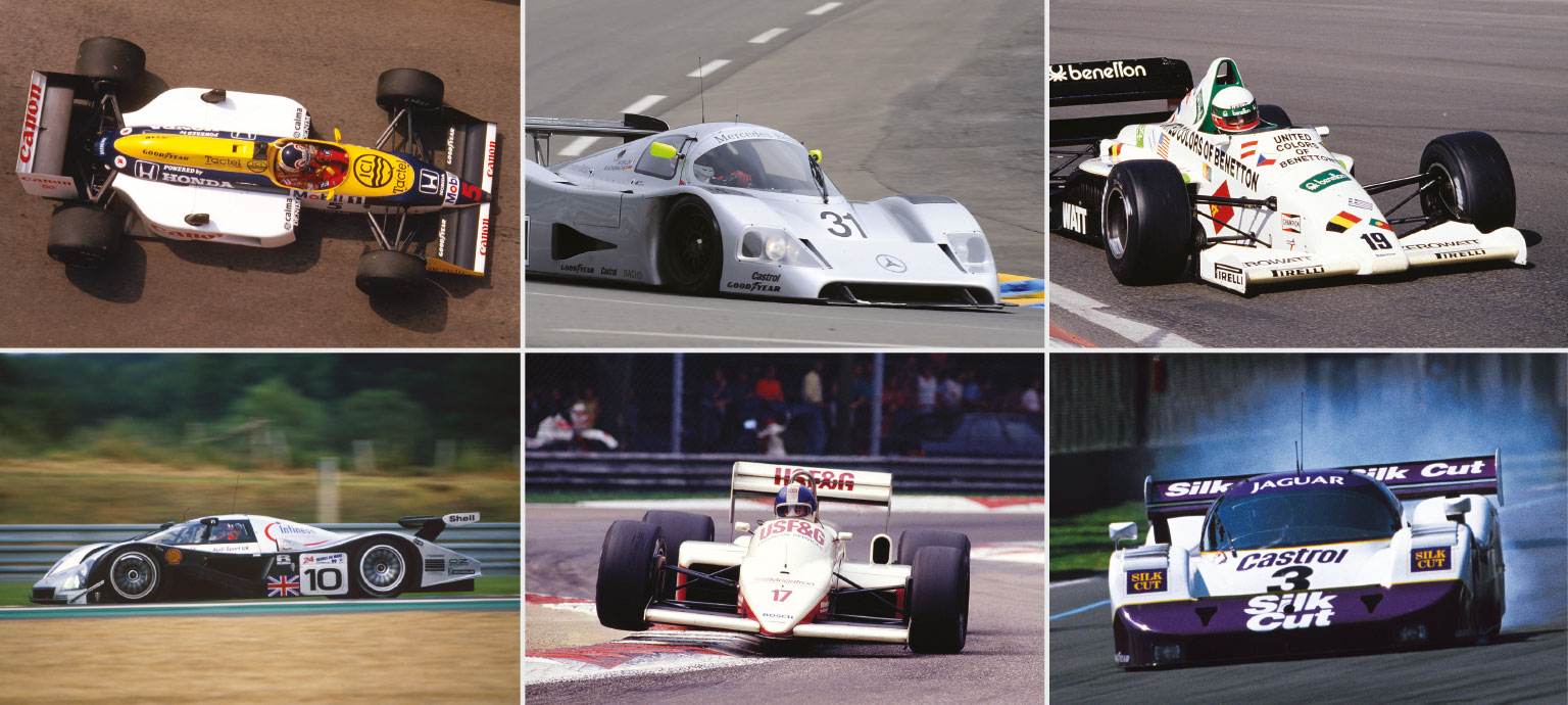 The power-hungry race cars that will light up Race Retro: the Williams FW11/B (top left) headlines the turbocharged F1 display alongside the Toleman TG185 (top right) and Arrows A10 (bottom middle). The Sauber-Mercedes C11 (top middle) joins the Audi R8C (bottom left) and Jaguar XJR-11 (bottom right) in a Le Mans tribute