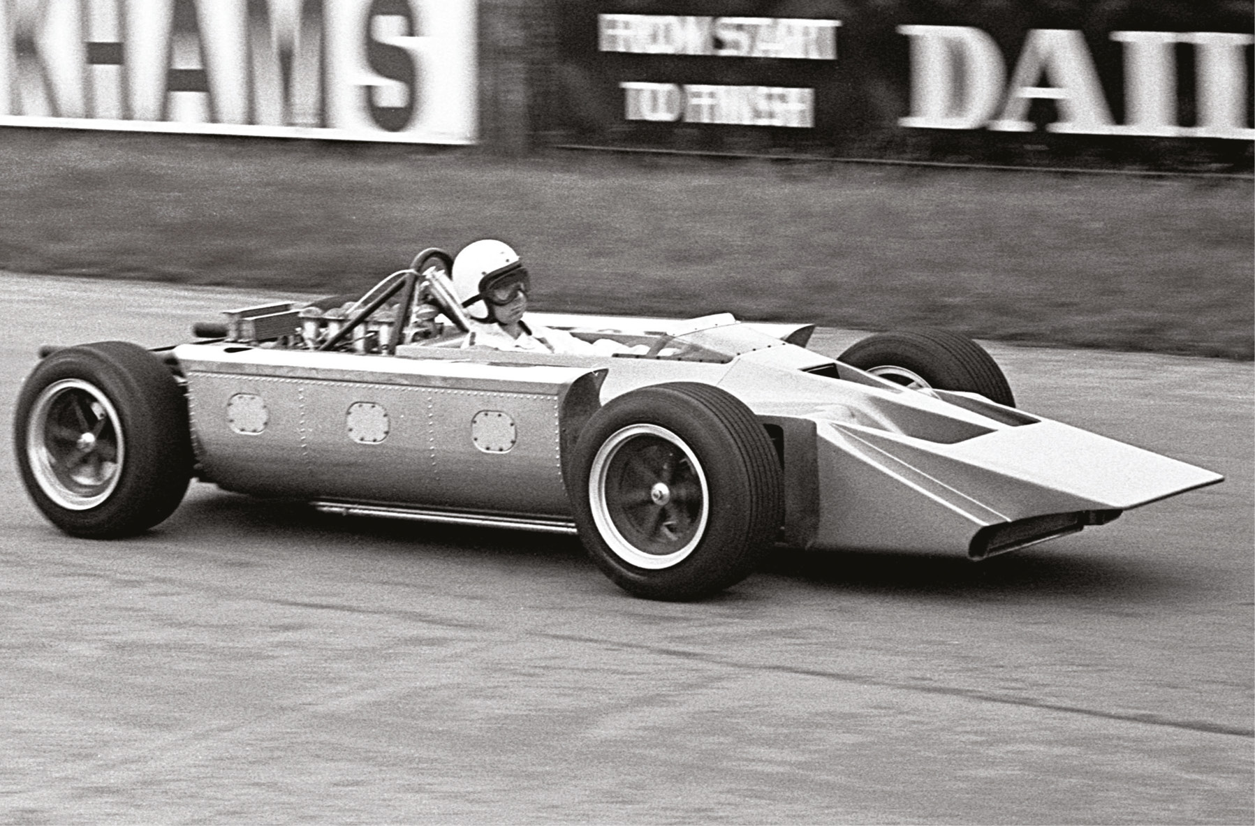 Costin, pictured, did much of the development work himself, but stars like Jackie Stewart also tried the 4WD beast.