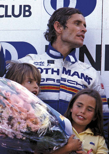 Jacky celebrates victory with Porsche at Spa, with a young Vanina in 1982