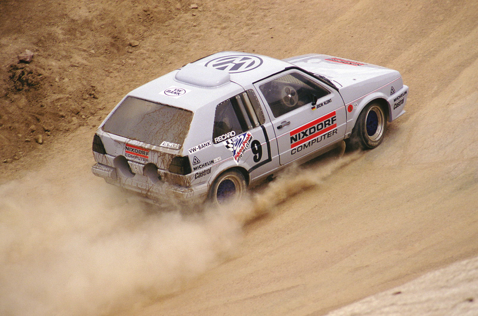 Pikes Peak attracts a plethora of bizarre specials, such as the mad twin-engined 640bhp VW Golf, driven by Jochi Klient.