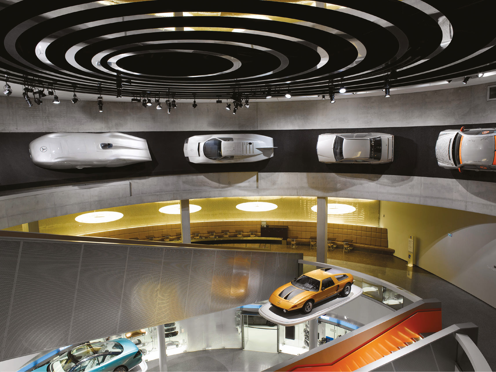 The Mercedes-Benz museum is home to some stunning design exhibits
