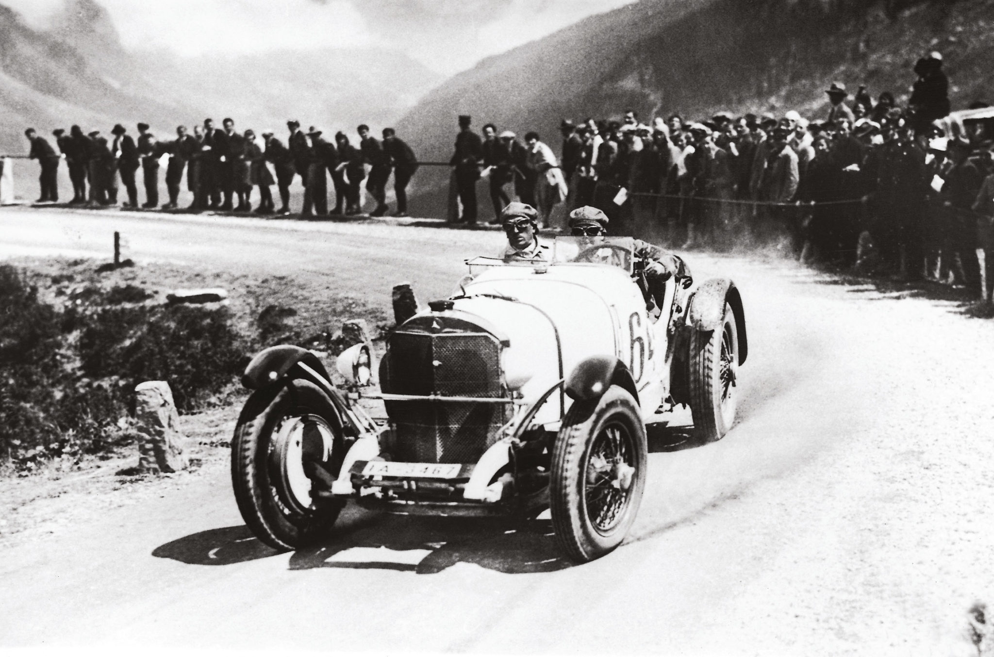 Rudi Caracciola wrestles his 7-litre Mercedes SSK up the Klausen climb in 1930, winning the sports car award