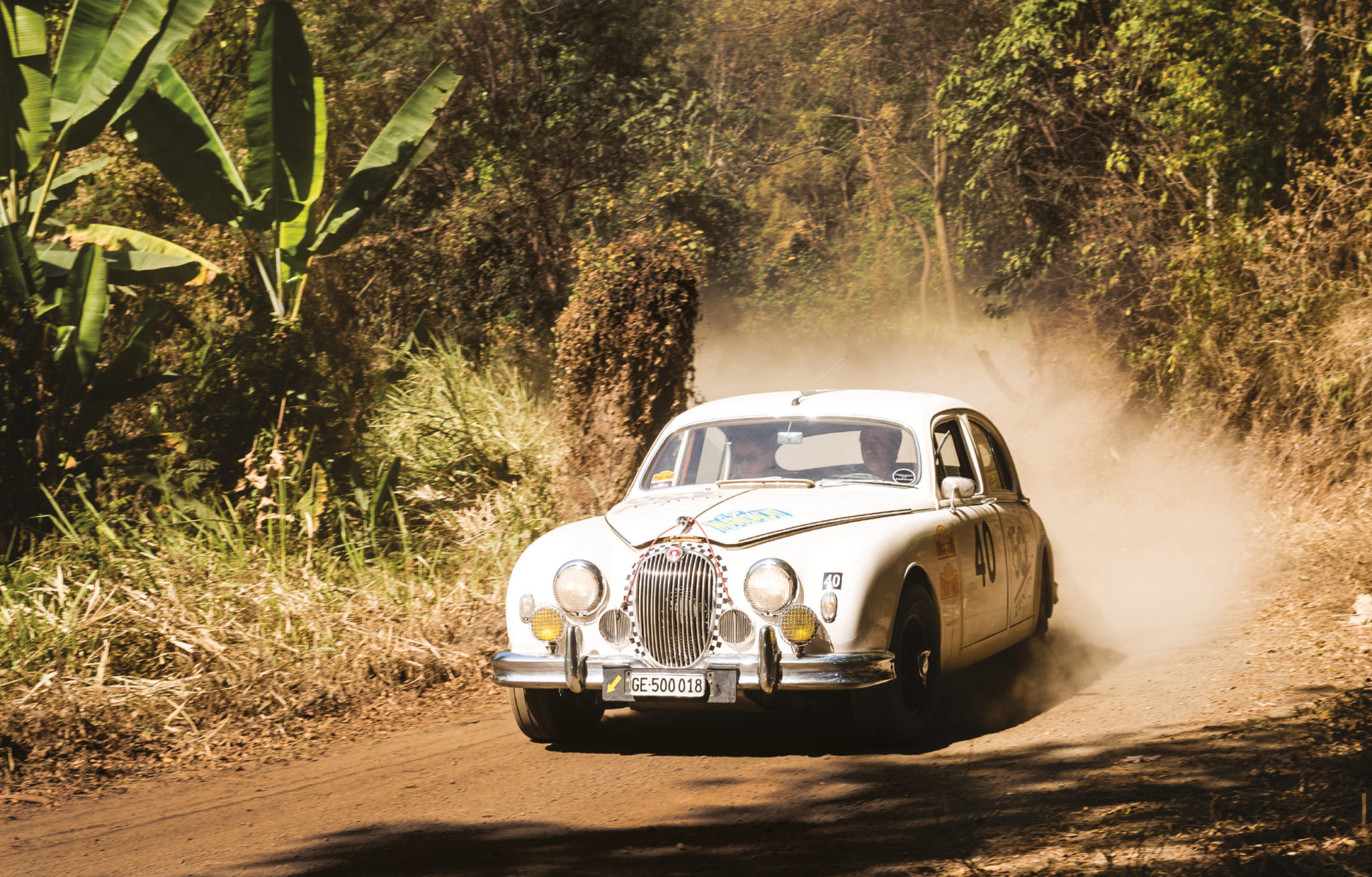 The Spadini rally fleet boasts his Citroen and this Mk1 Jag, which he took on the Road to Mandalay