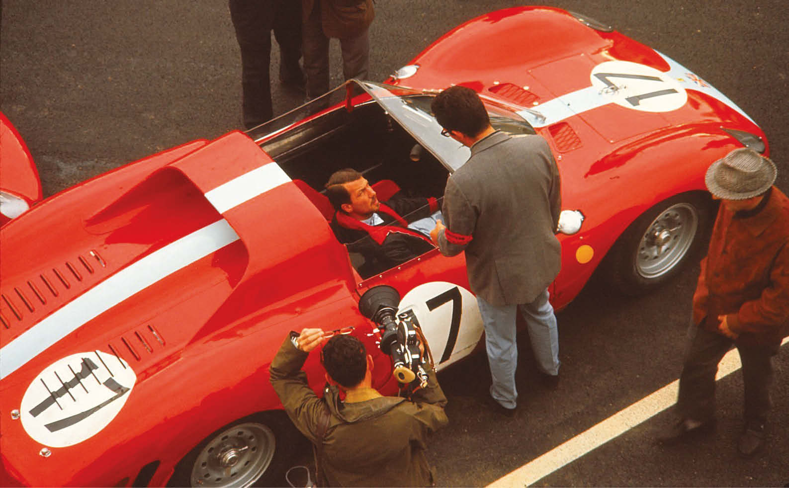 Jo Bonnier at the wheel of the Ferrari 365P2 he shared with David Piper. They dropped out with ignition problems