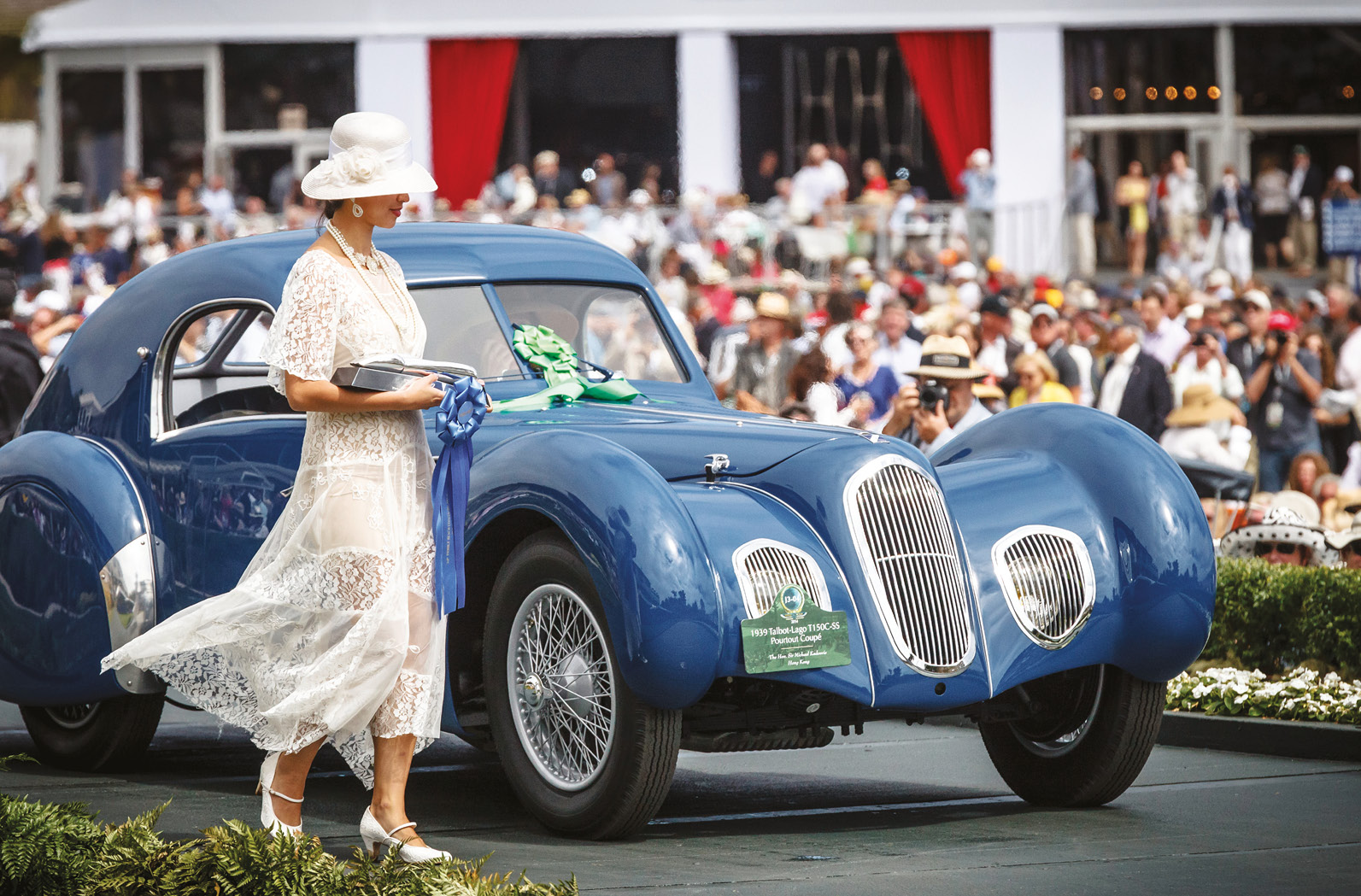 On the Pebble Beach ramp where concours winners receive their awards