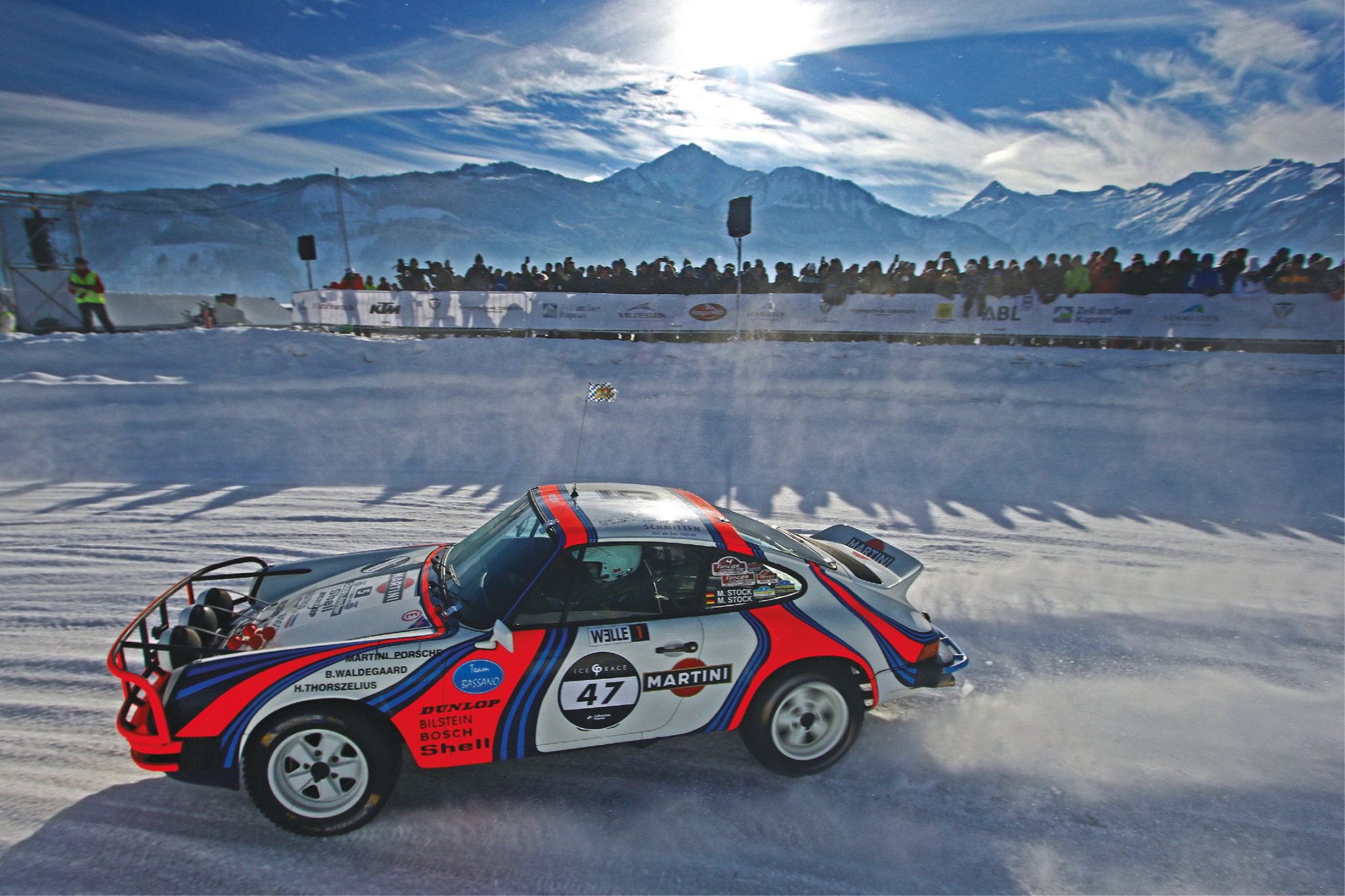 Fans line the snow banks that mark out the mile-long circuit. Entrance is just £20, and comes with the chance to rub shoulders with the star drivers
