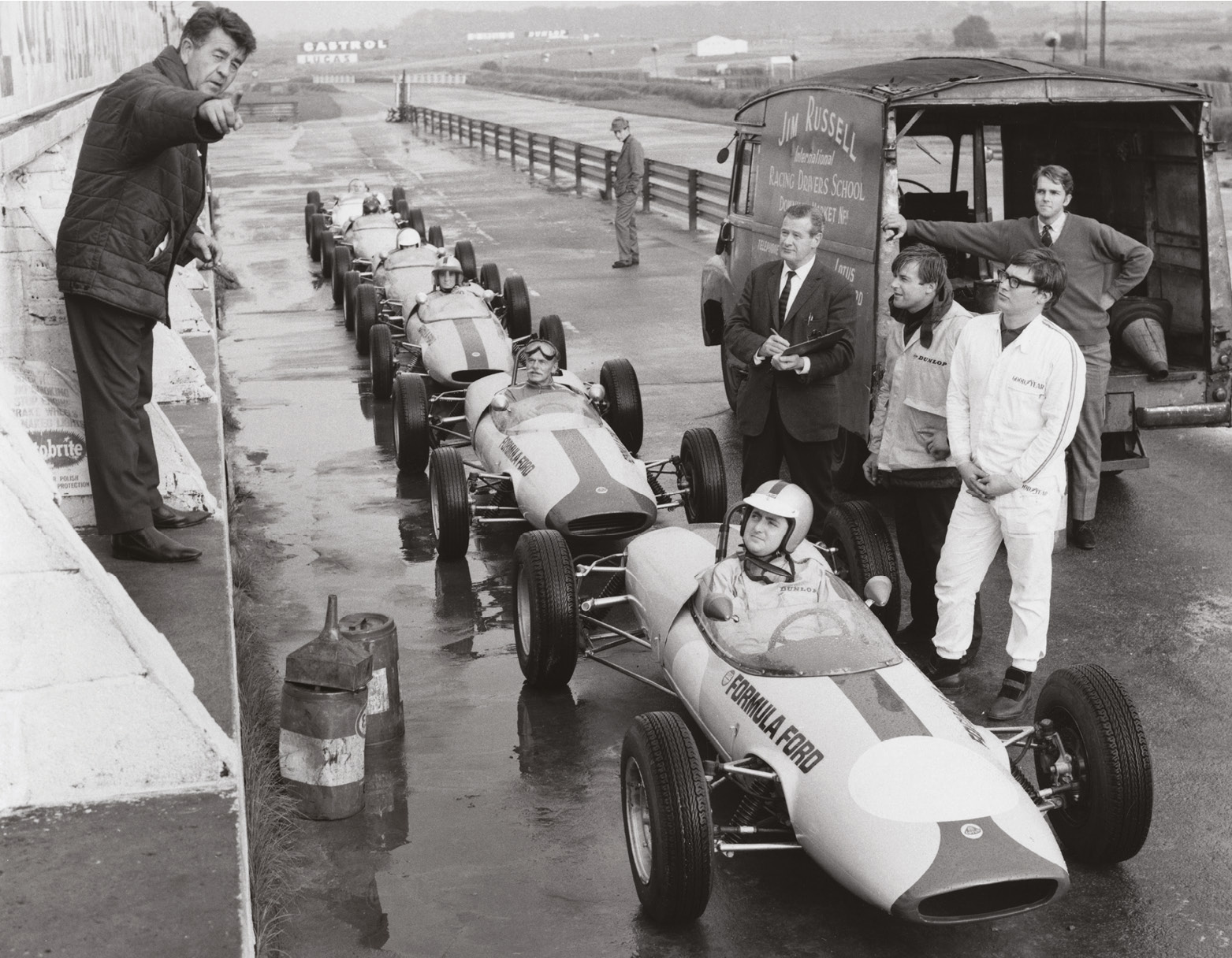 Mark Cole, pictured here in the fourth car back, recounts his memories of Jim Russell's school in 1967