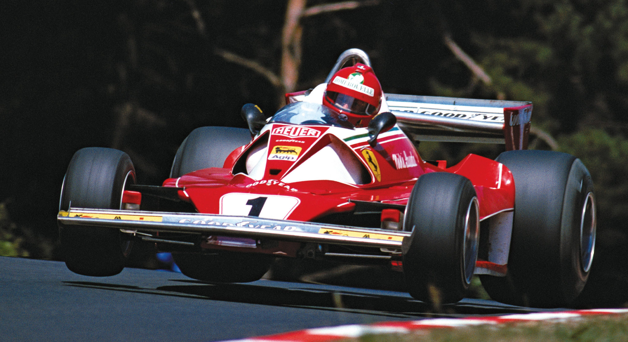 Lauda flying at the Nürburgring in 1976, before the accident that triggered his amazing comeback