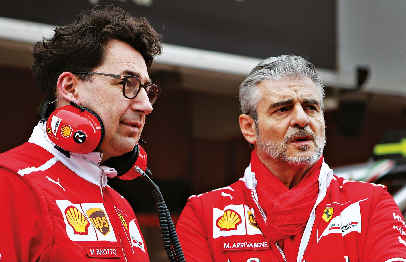 Present and past: Binotto with ousted Ferrari team principal Maurizio Arrivabene, right