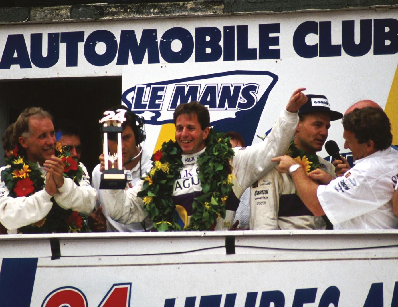Price Cobb (left), Brundle and John Nielsen celebrate their win... Eliseo Salazar didn't