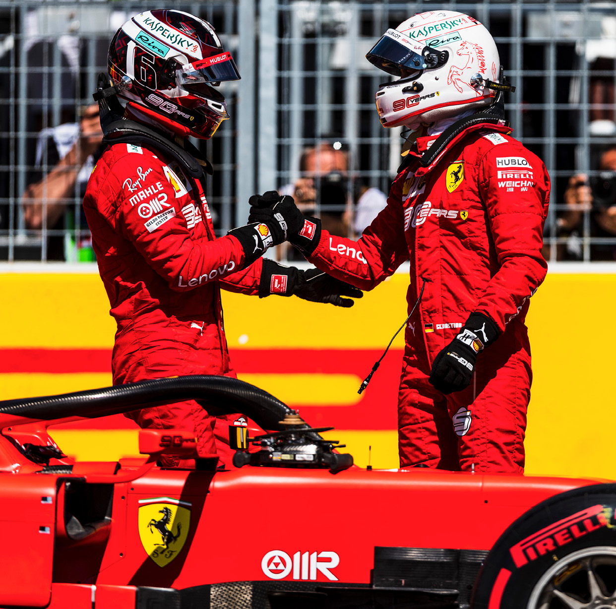 The addition of Charles Leclerc (left) to the team has changed the atmosphere, says Vettel