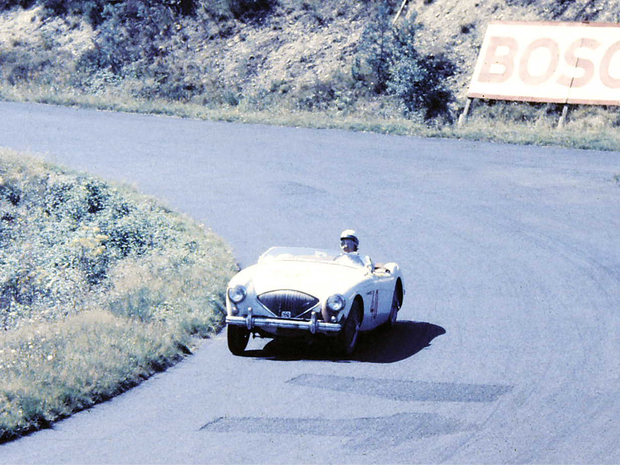 Chris Power's Austin Healey 100S en route to sixth place in the Rheinland-Pfalz Preis event for GTs over 2000cc