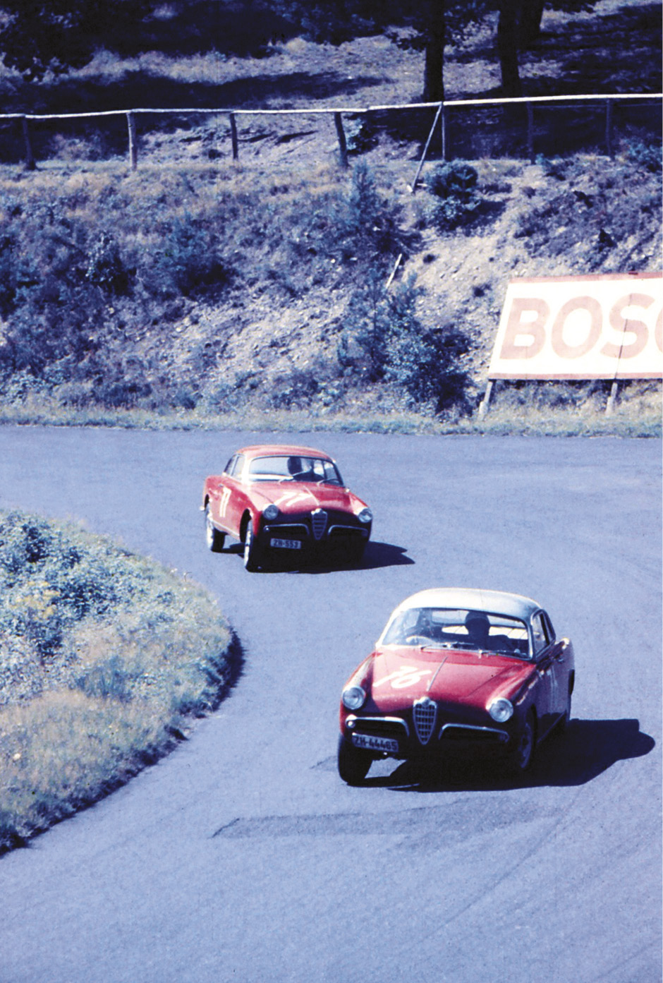 Alfa Romeo Giulietta Veloces battle it out during a support race – the Rheinland-Pfalz Preis for cars up to 1300cc. Lenses tended to be quite short back then, but access from public areas was good...