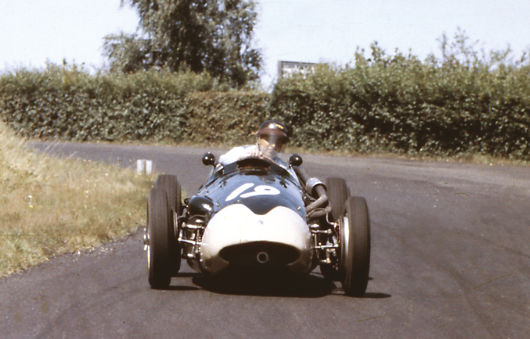 While Fangio stole the headlines with a stellar recovery drive, Horace Gould fared less well with his Maserati 250F, retiring after one lap