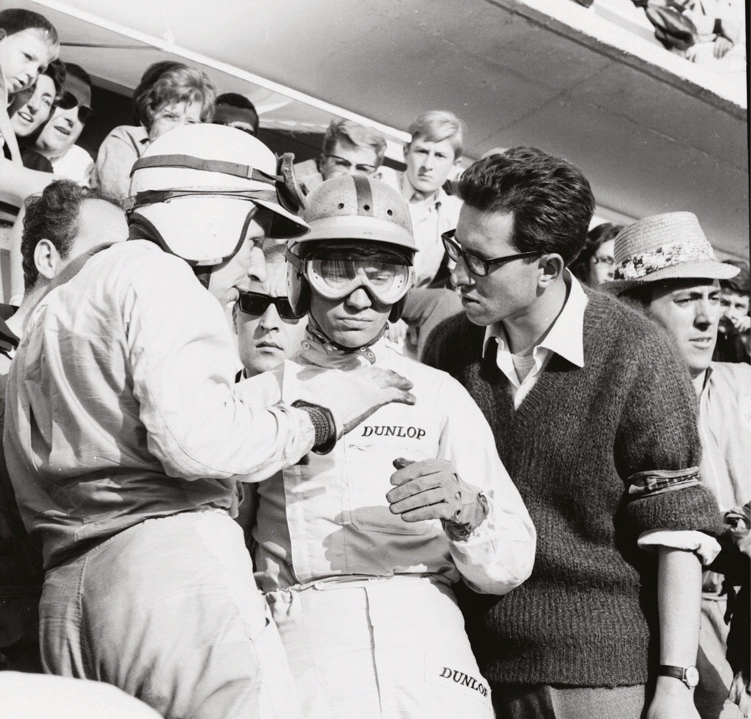 Forghieri with drivers John Surtees and Willy Mairesse at Le Mans in 1963
