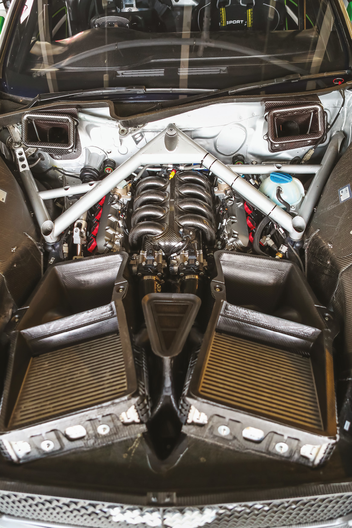 The 4-litre twin turbo engine is mounted way back in the chassis