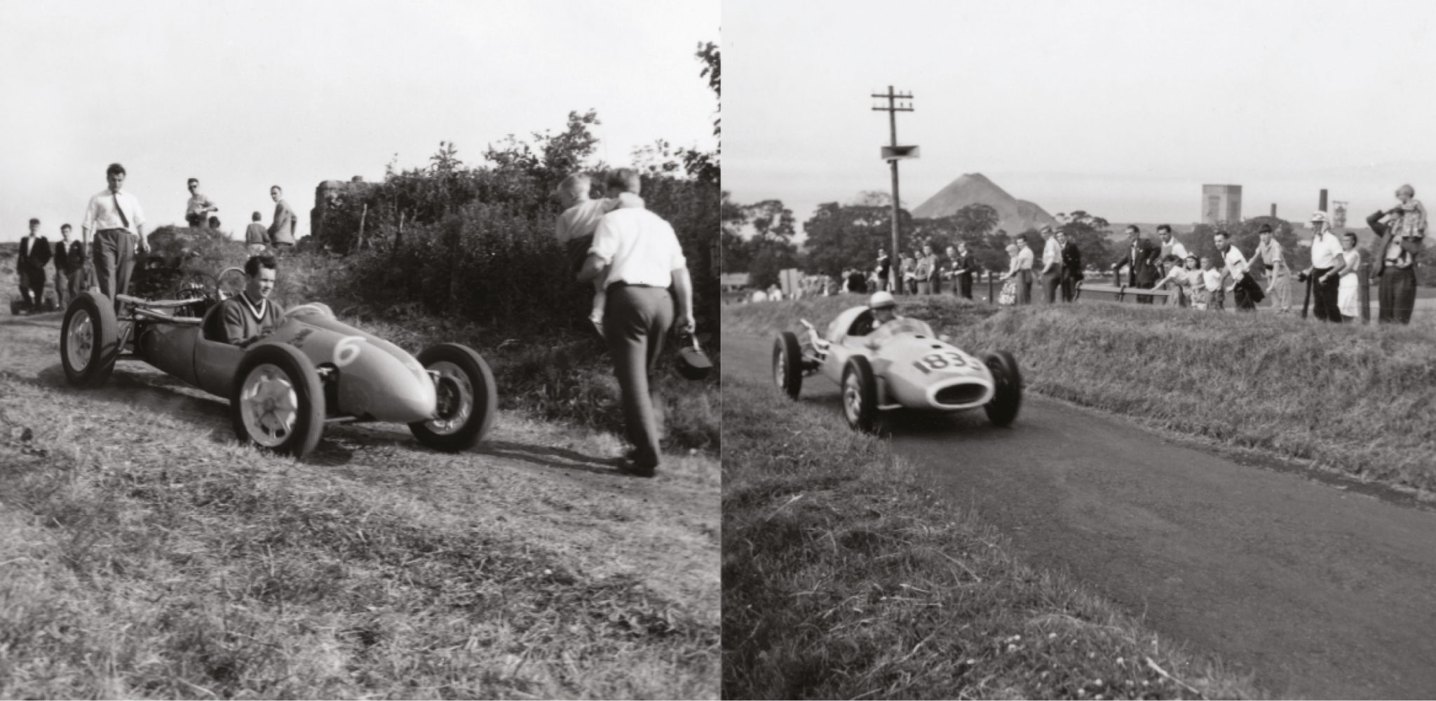 Shots from Bo'ness are a You Were There rarity – but very welcome. Left, Robert Mickel (Cooper 1500) on the hill in June 1960. Right, David Boshier-Jones set BTD at the same event in his 1100 Cooper