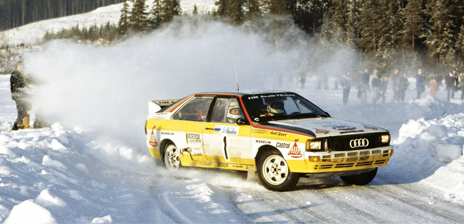 Stig Blomqvist's world title came in 1984, courtesy of five wins, including victory on Rally Sweden in the Quattro A2