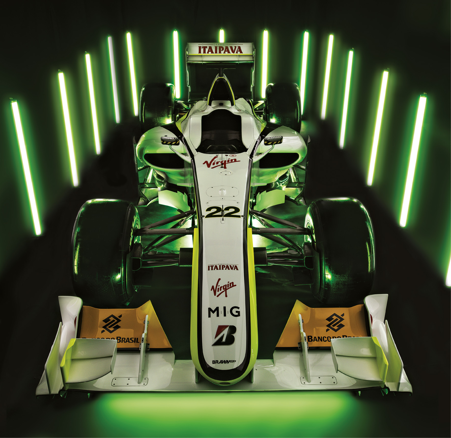 Of the three BGP 001s built, this is chassis 02 – used by Button throughout the 2009 season and now owned by Brawn
