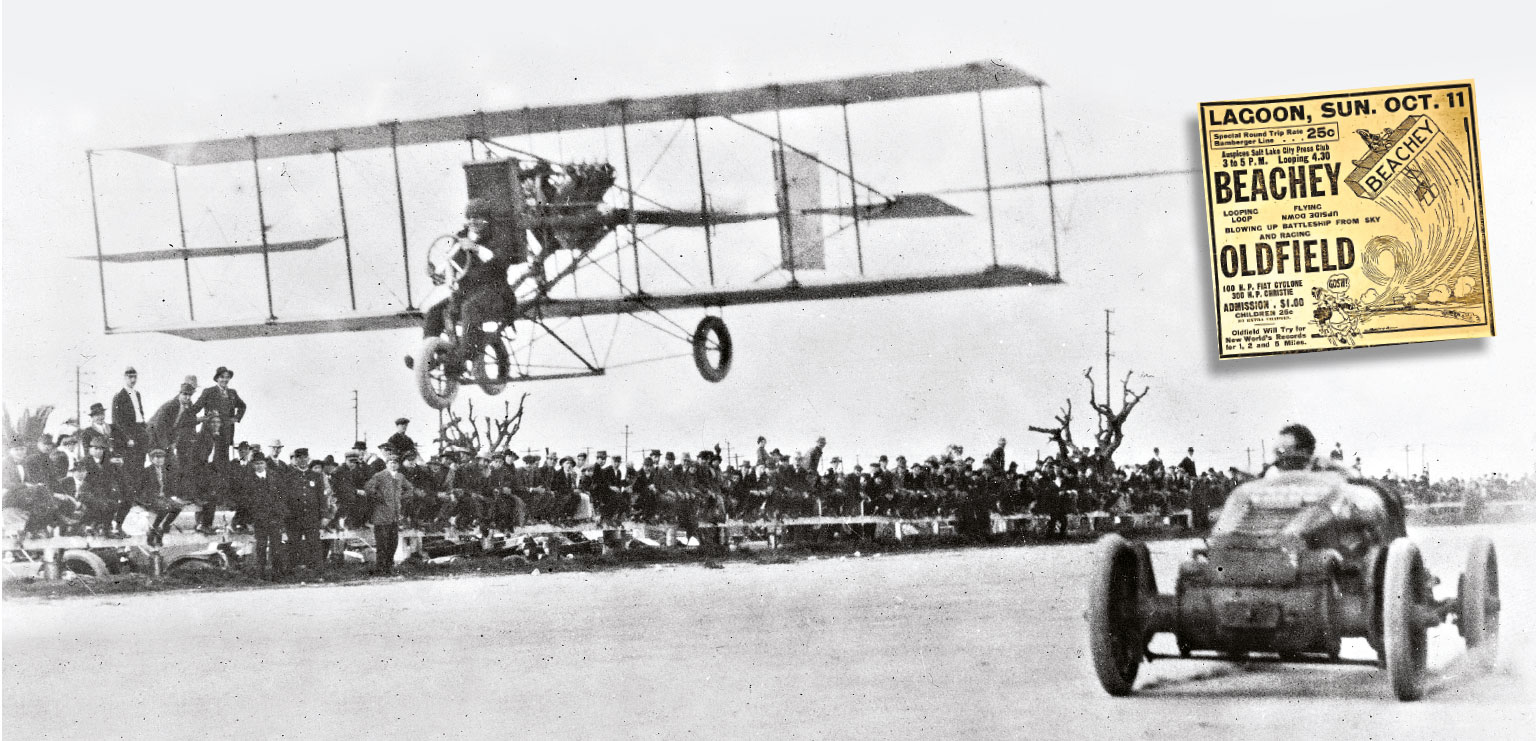 Always one for a novelty, Oldfield races against pilot Lincoln Beachey and his Curtiss airplane in Los Angeles, 1914