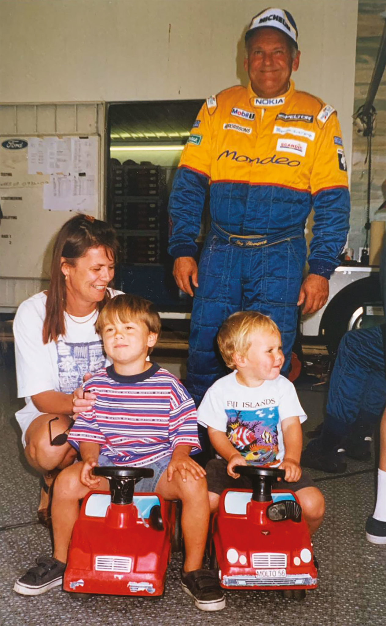 Stig with a young Tom (front, left)