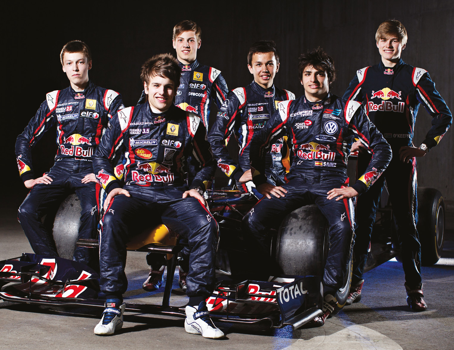 Red Bull Junior Team, class of 2012: From left: Daniil Kvyat , Lewis Williamson, Stefan Wackerbauer, Alex Albon, Carlos Sainz Jr and Callan O'Keeffe. Only Kvyat and Albon are still with the brand