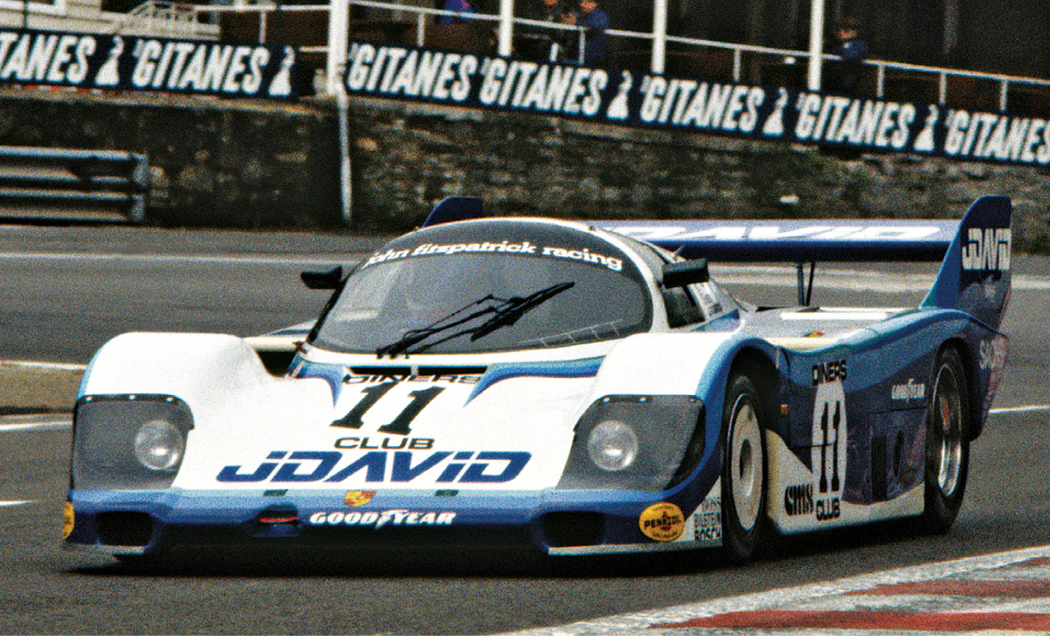 John Fitzpatrick and David Hobbs on their way to third in the 1983 WEC race at Spa in a 956