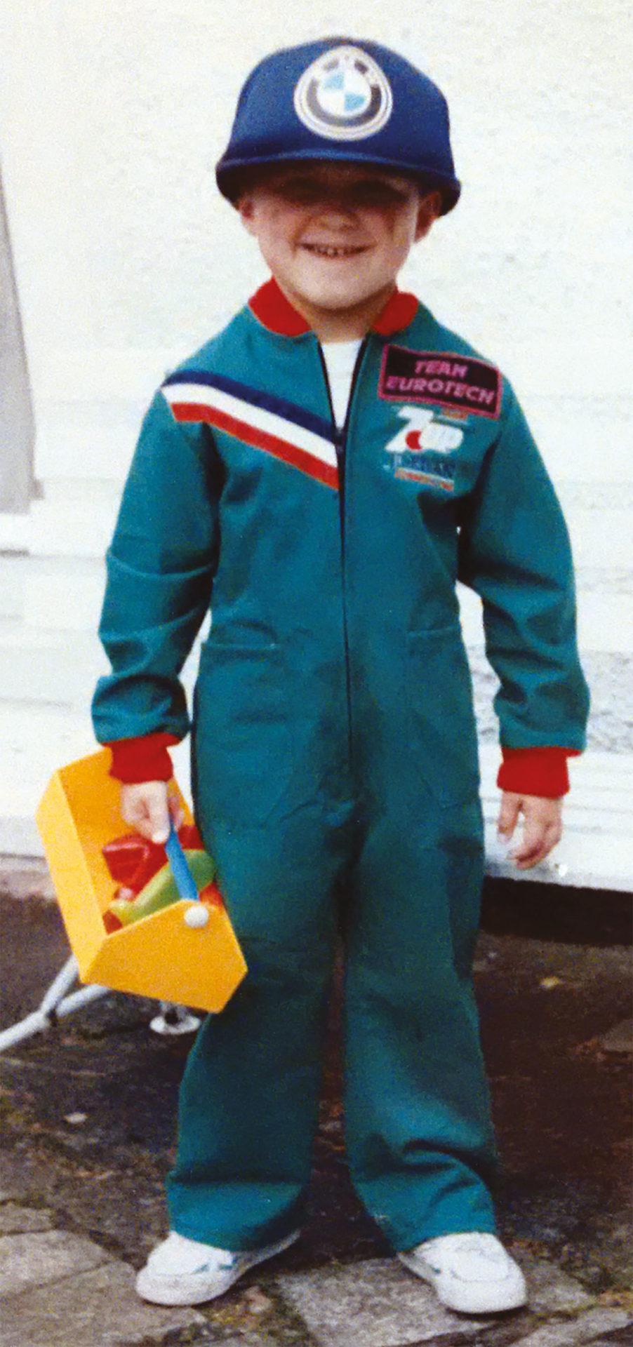 A young AJ already wearing his BMW team gear