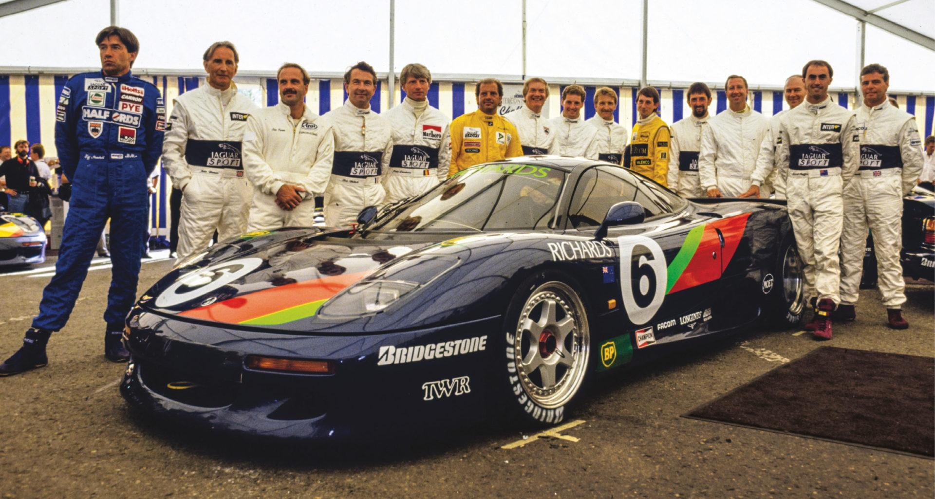 The grid at Spa in 1991. From left: Tiff Needell, John Watson, Cor Euser, Bob Wollek, Pierre Dieudonné, Armin Hahne, Win Percy, Jeff Allam, Will Hoy, Ian Flux, David Leslie, Jim Richards, Thierry Tassin, David Brabham and Derek Warwick