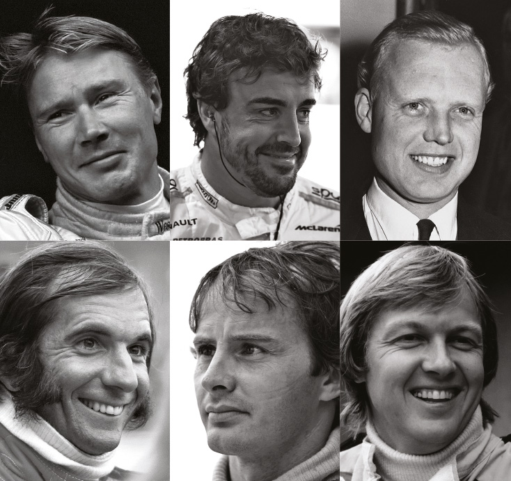 F1 nominees include Mika HAkkinen. Fernando Alonso, Mike Hawthorn, Emerson Fittipaldi, Gilles Villeneuve and Ronnie Peterson