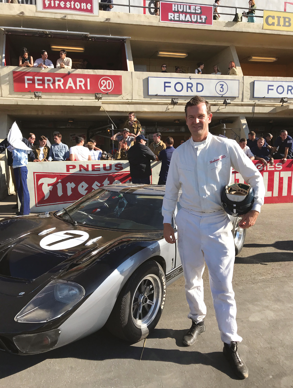 Author Derek Hill dressed as Graham Hill ahead of a Le Mans-style start