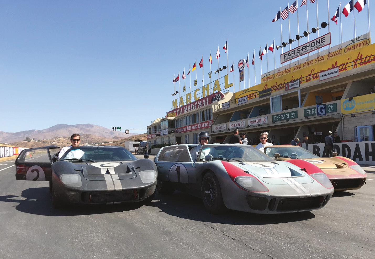 Detailed full-scale Le Mans pits built in California, with lookalike 'hero' cars