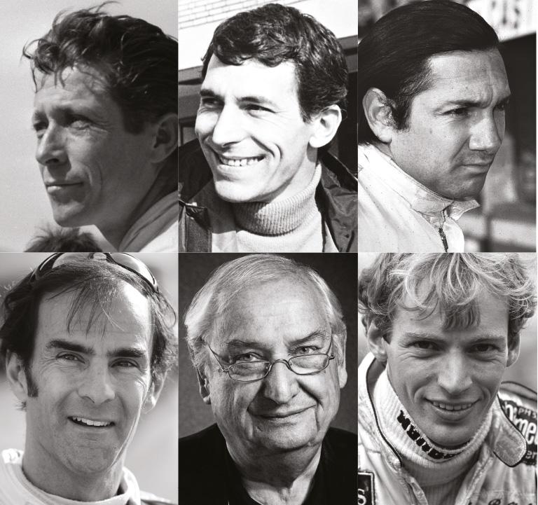 The Sportscars list includes: Olivier Gendebien, Vic Elford, Pedro Rodriguez, Emanuele Pirro, Norbert Singer and Stefan Bellof