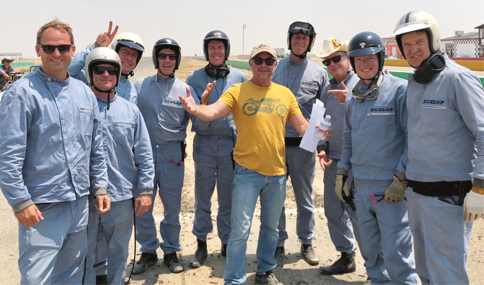 Stunt team with co-ordinator Nagle at centre, Derek Hill on the far right.