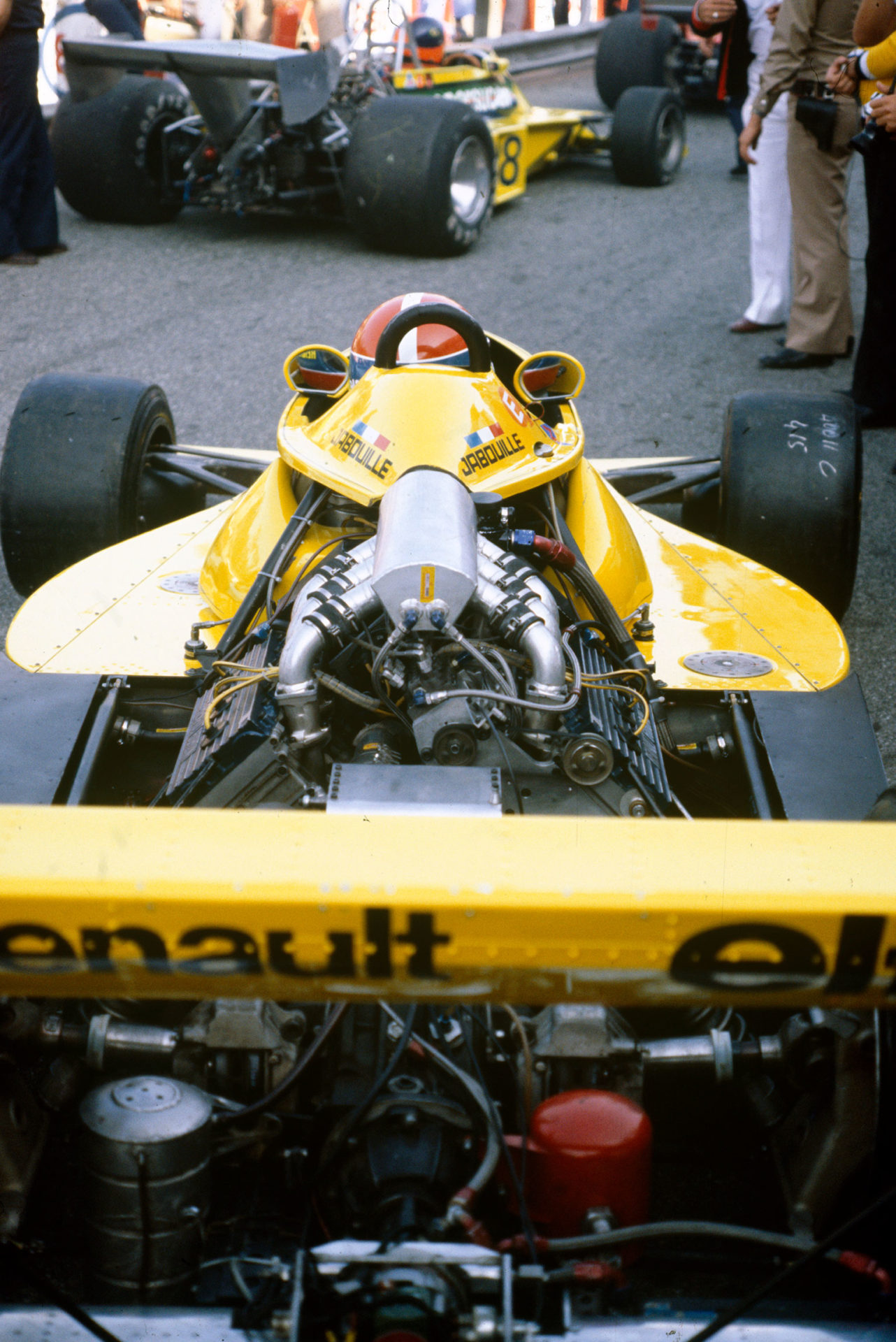 Cosworth (below, left) supplied the bulk of the grid in 1977, until Renault arrived with turbocharging...