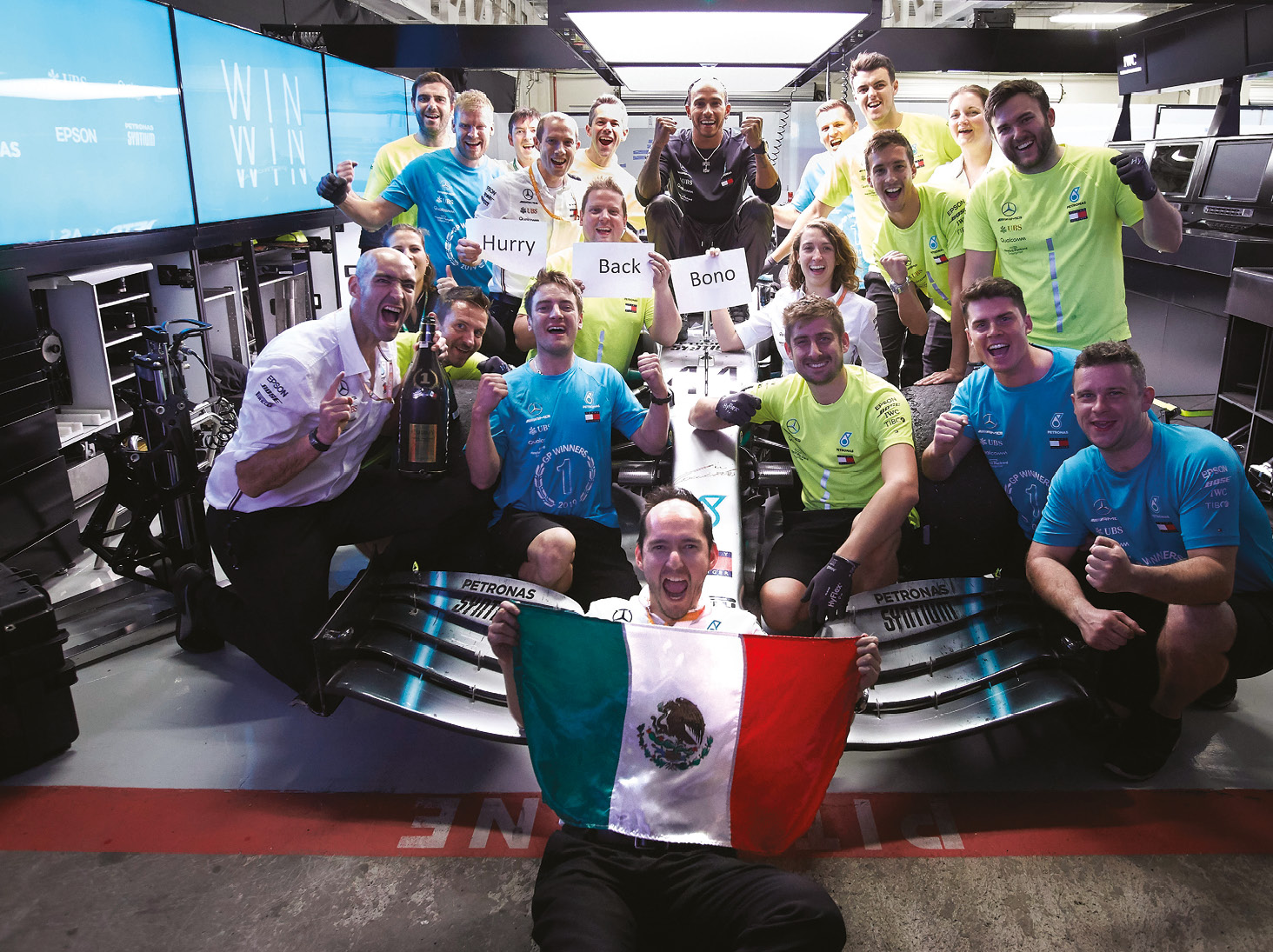 Mercedes celebrate in Mexico and send a message to race engineer Pete Bonnington