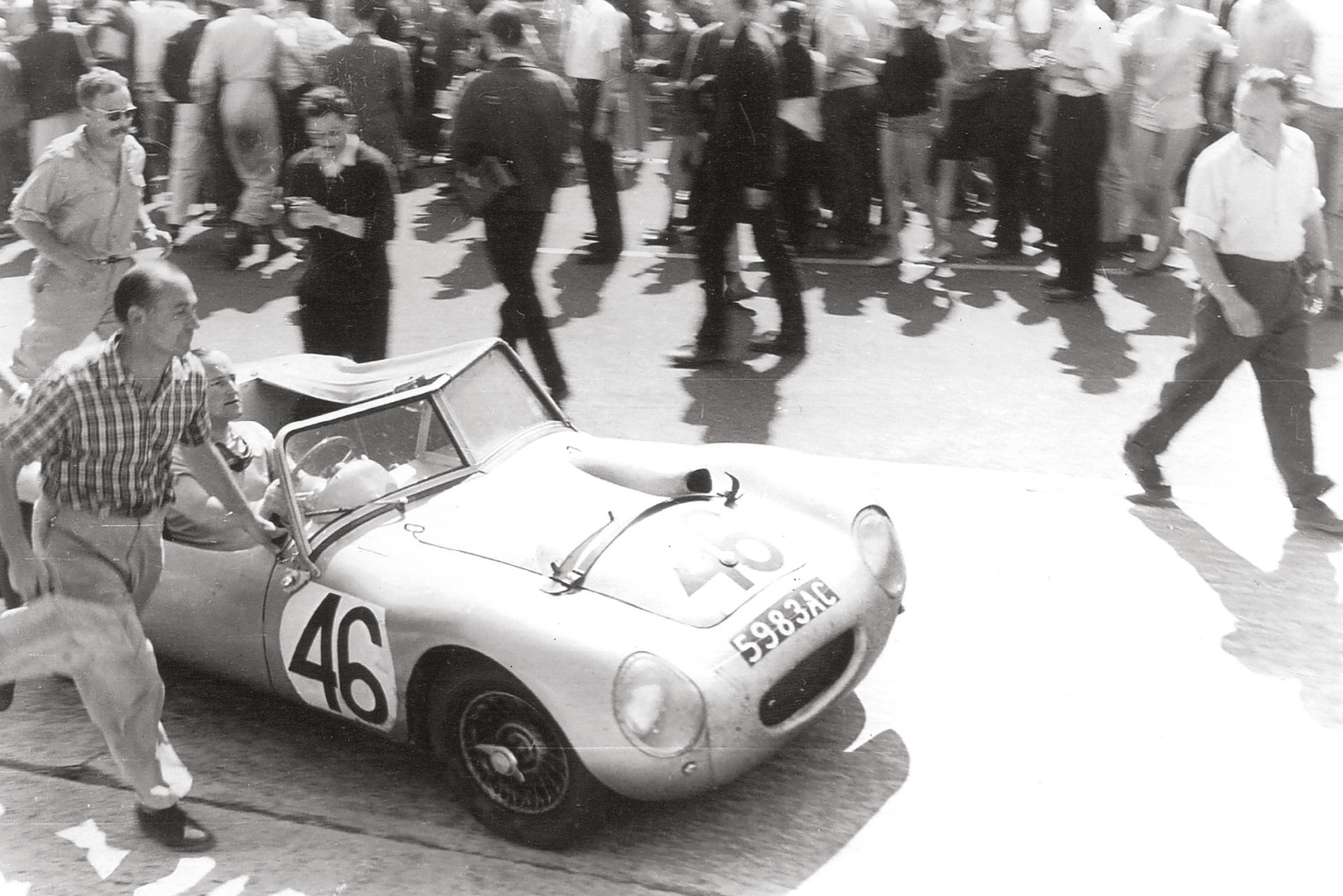 The Austin-Healey Sprite Spider, entered by the tuning firm's chief, Donald, takes the finish in 16th