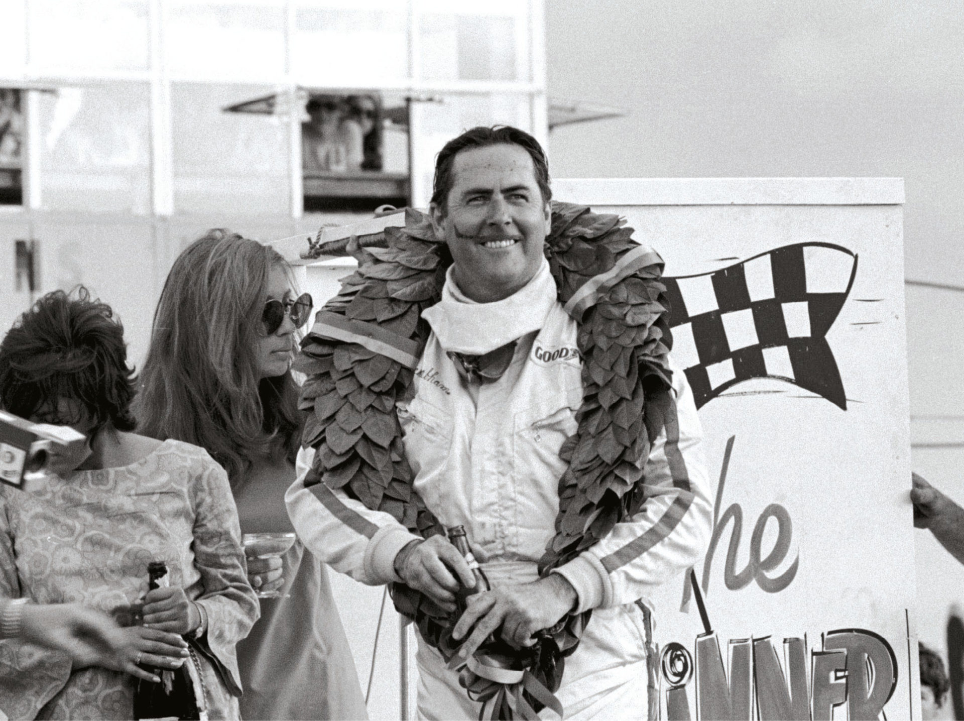 Jack Brabham after his final win in a Brabham in 1970. Top, his son David at Brands Hatch in the BT62