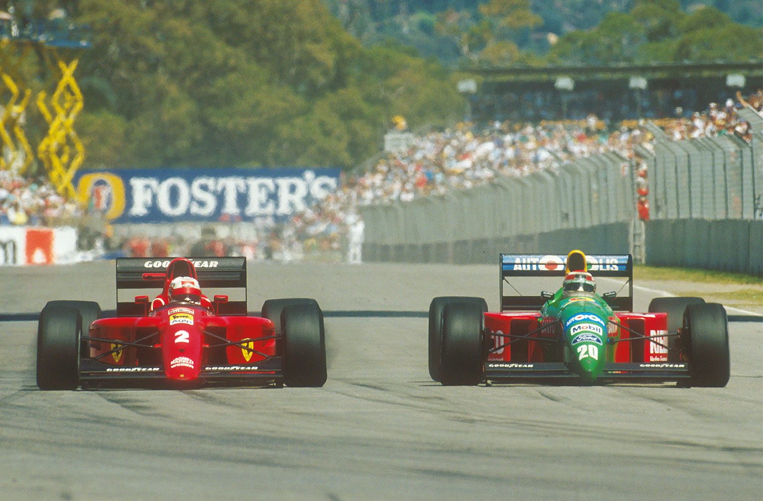 Rivals whether team-mates or not. Mansell and Piquet traded places on track and verbal insults off it. This is 1990, with Mansell in the Ferrari and Piquet with Benetton