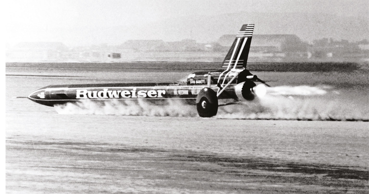 The Budweiser Rocket's controversial land speed record run at Edwards Air Force Base made the Guinness Book of World Records before later being stripped of that honour