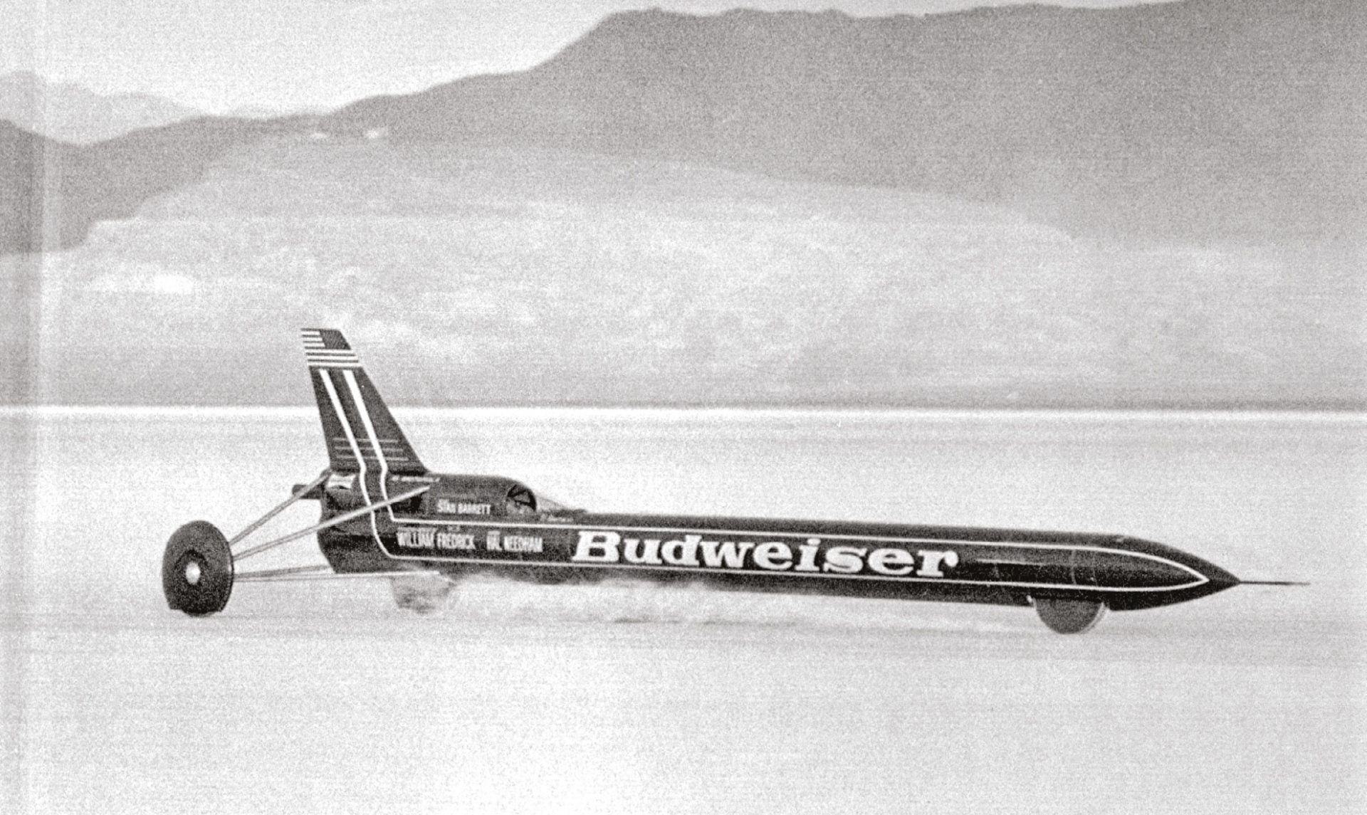 The Rocket first ran at Bonneville Salt Flats before moving to the more hard-packed surface of Edwards Air Base