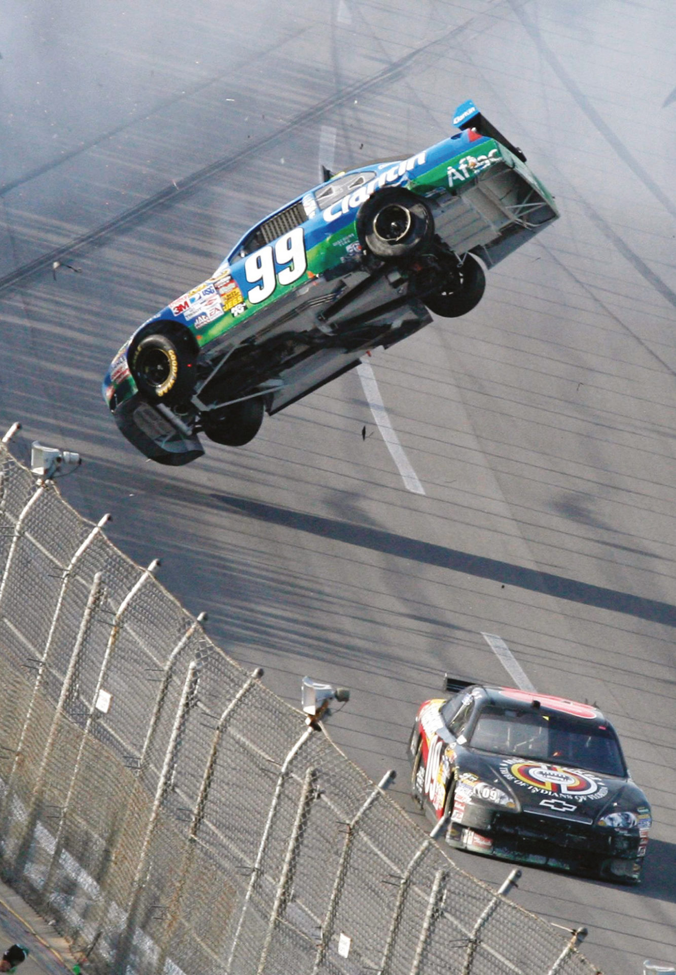 Edwards takes an unscheduled flight after last-lap contact with Keselowski at Talladega in 2009