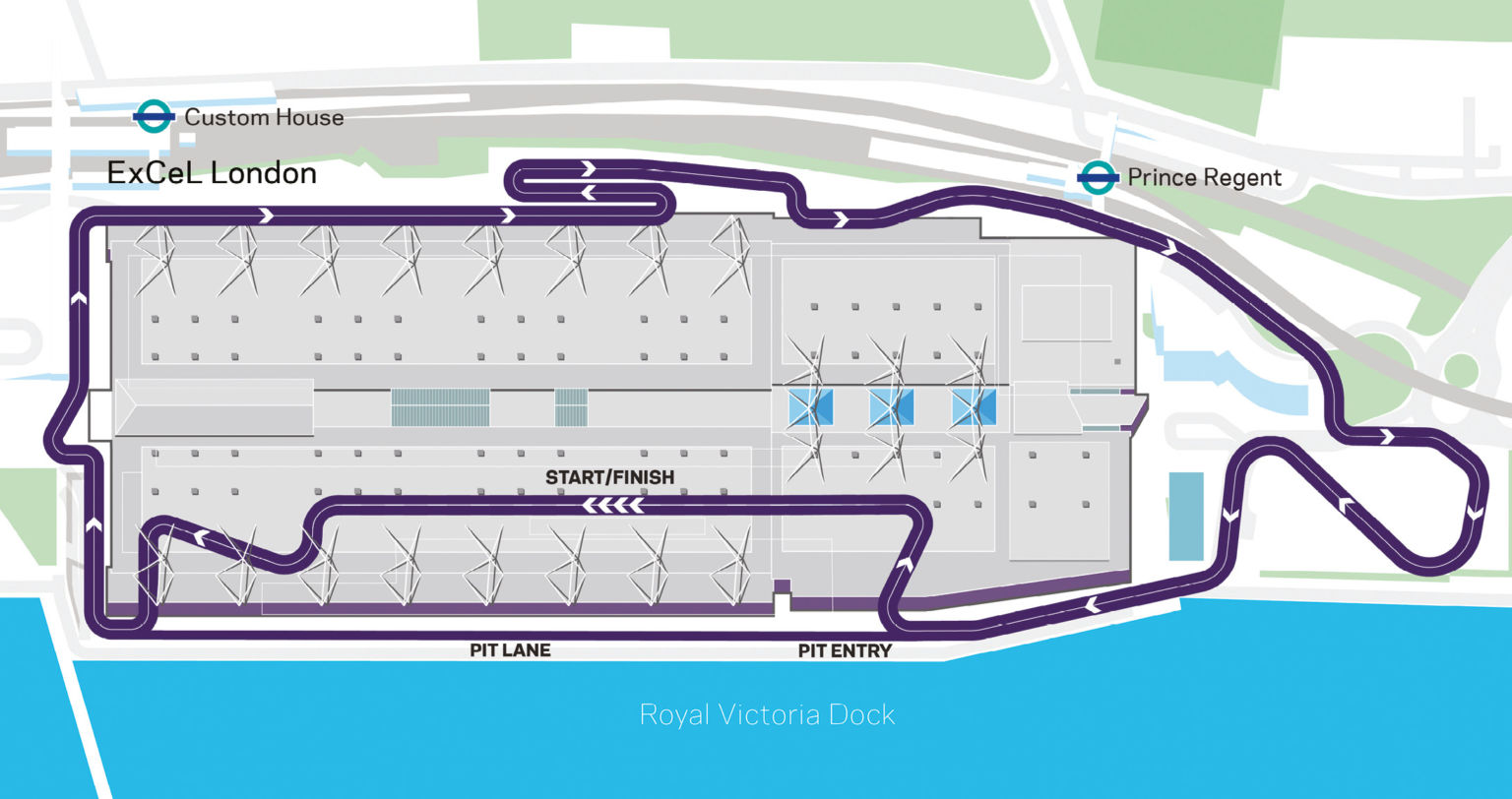 The double-header season finale in London will be held on a track that runs both around and through the ExCel arena in the Docklands area