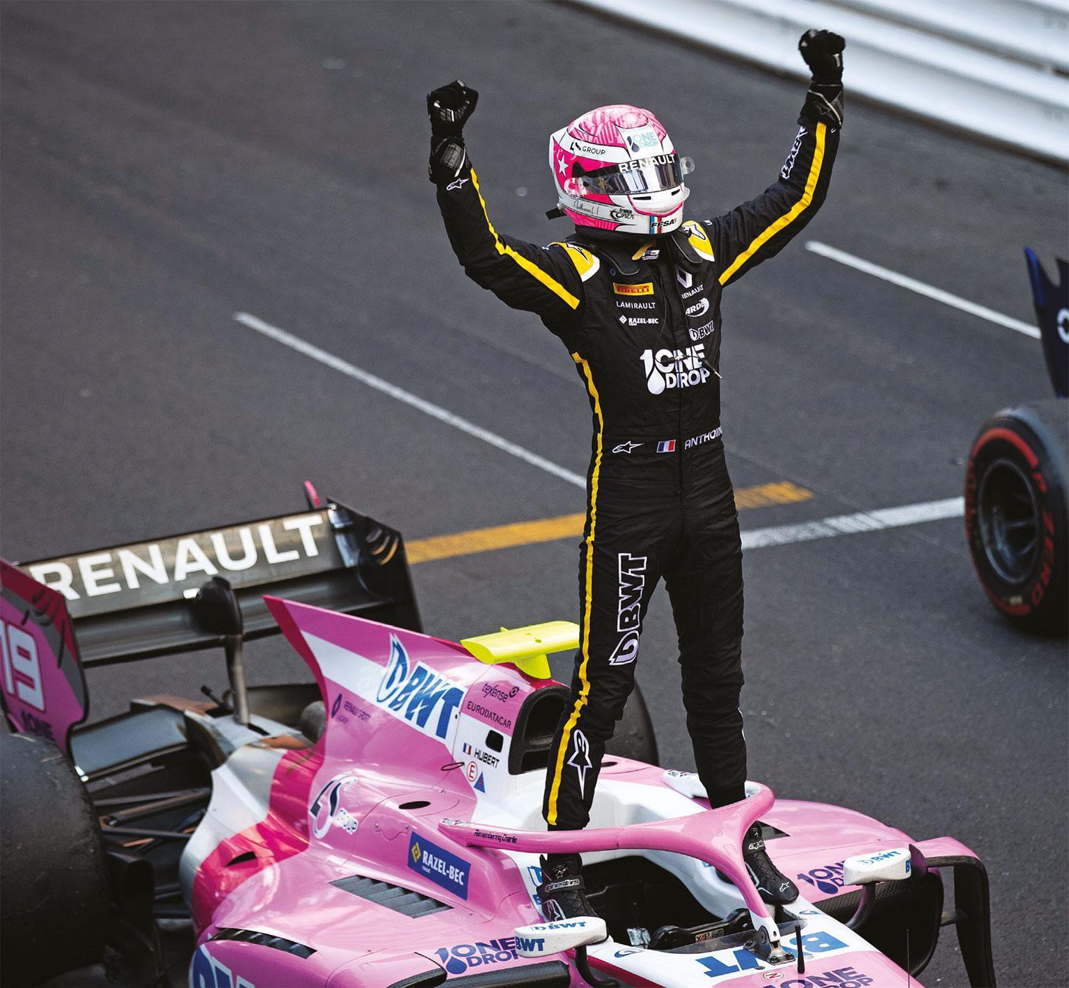 Anthoine Hubert celebrates during the Monaco FIA Formula 2 round in May 2019