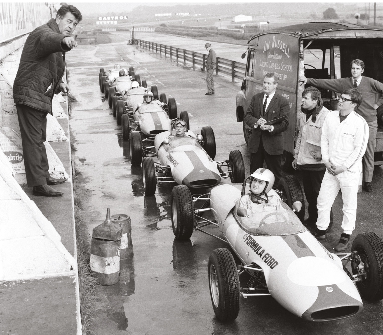Aside from being a talented driver himself, Russell (above) inspired many others through his racing school