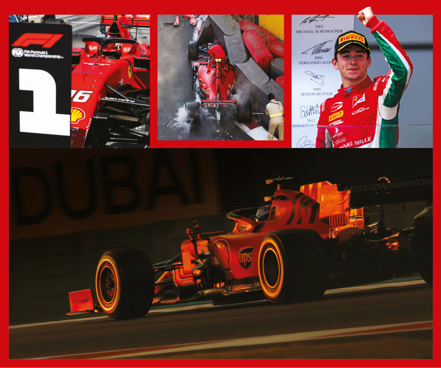 Qualifying mistake in Baku was a low point (top, middle), but F2 success under difficult circumstances proved Leclerc's talent (top, right) and cemented his path to Ferrari