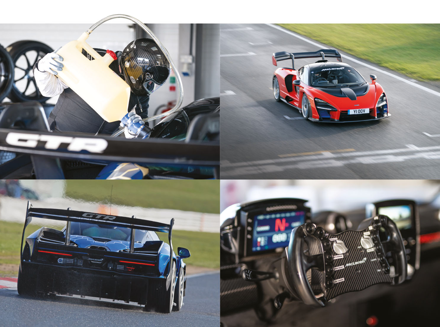 Frankel learned the circuit in the 'normal' Senna road car (top, right) before being unleashed in the GTR